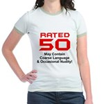 Funny 50th Gifts, Rated 50 Jr. Ringer T-Shirt