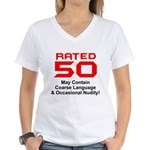 Funny 50th Gifts, Rated 50 Women's V-Neck T-Shirt