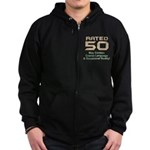 Funny 50th Gifts, Rated 50 Zip Hoodie (dark)