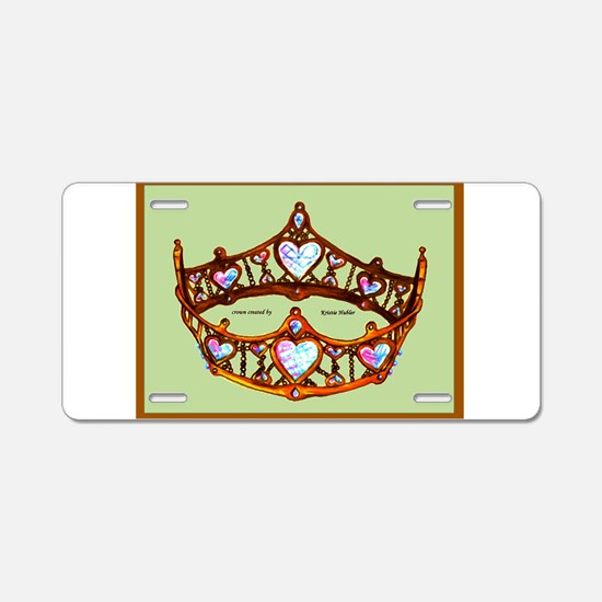 Queen of Hearts Gold Crown Tiara on Mint Green Bac