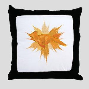 Fox Splatter Cool Foxes Canidae Carni Throw Pillow