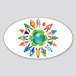 Global Recycle Oval Sticker