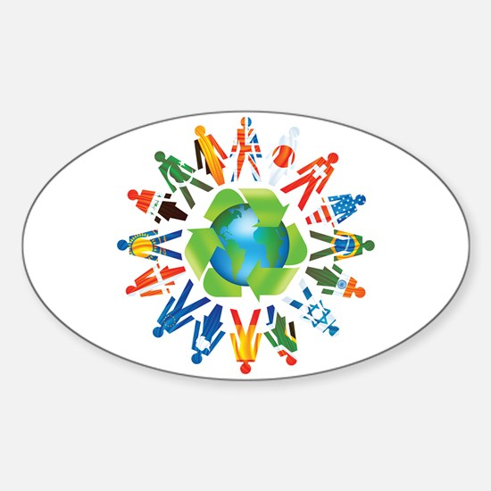 Global Recycle Oval Decal