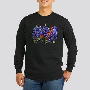 BLUEBONNETS AND PAINTBRUSH Long Sleeve Dark T-Shir