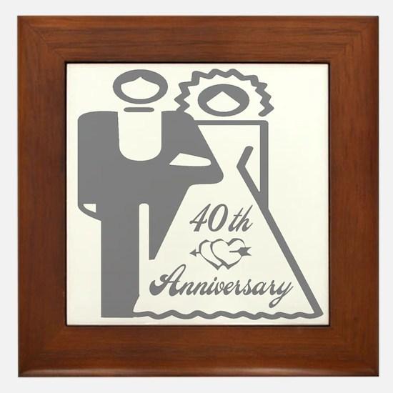 40th Wedding Anniversary Framed Tile
