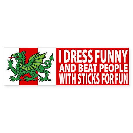 "Midrealm Vinyl ""I dress funny"" Bumper Sticker"