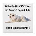 Great Pyrenees Tile Coaster Clean and Tidy