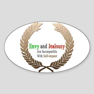 Envy and Jealousy Oval Sticker