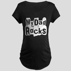 My Dad Rocks Maternity Dark T-Shirt