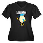 Eggucated Women's Plus Size V-Neck Dark T-Shirt