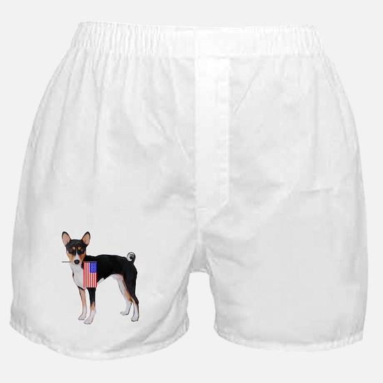 Basenji with flag Boxer Shorts