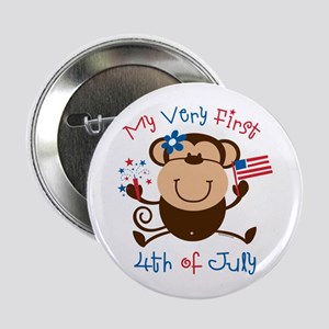 "My 1st 4th Girl Monkey 2.25"" Button"