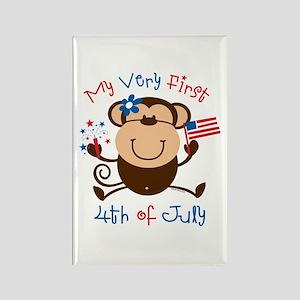 My 1st 4th Girl Monkey Rectangle Magnet