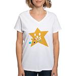 1 STAR EATING ORANGE Women's V-Neck T-Shirt