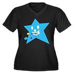 1 STAR EATING BLUE Women's Plus Size V-Neck Dark T