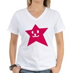 1 STAR SMILEY RED Women's V-Neck T-Shirt