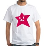 1 STAR SMILEY RED White T-Shirt