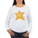 1 STAR SMILEY ORANGE Women's Long Sleeve T-Shirt