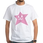 1 STAR SMILEY PINK White T-Shirt