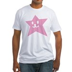 1 STAR SMILEY PINK Fitted T-Shirt