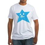 1 STAR SMILEY BLUE Fitted T-Shirt