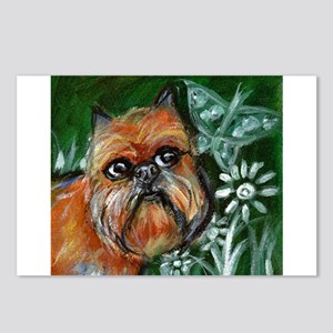 Brussels Griffon eyes butterf Postcards (Package o