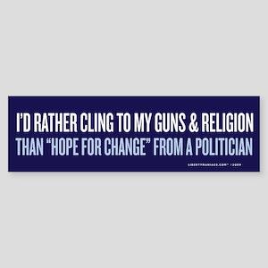Clinging to Guns & Religion Bumper Sticker
