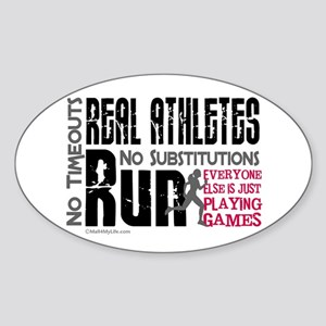 Real Athletes Run - Female Oval Sticker