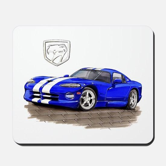 Viper Blue/White Car Mousepad