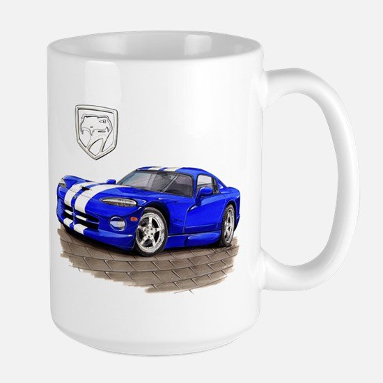 Viper Blue/White Car Large Mug