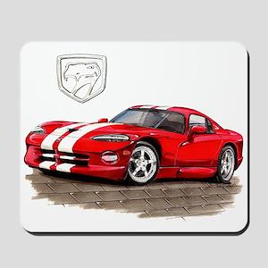 Viper Red/White Car Mousepad