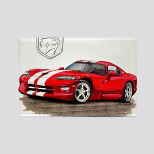 Viper Red/White Car Rectangle Magnet