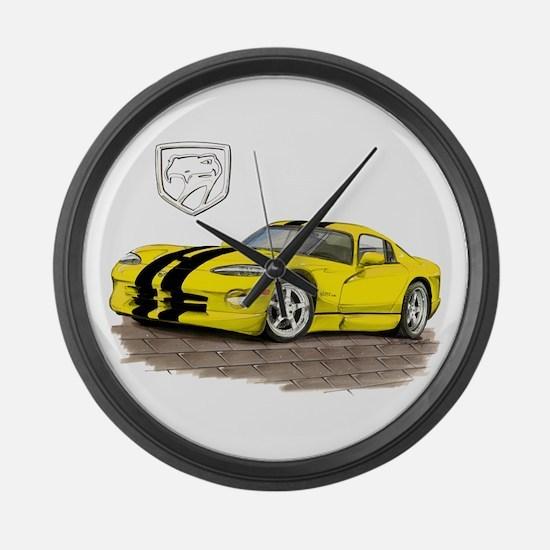 Viper Yellow/Black Car Large Wall Clock