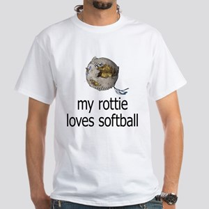 my rottie loves softball White T-Shirt