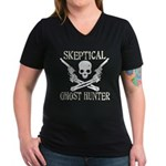 Skeptical Ghost Hunter Women's V-Neck Dark T-Shirt