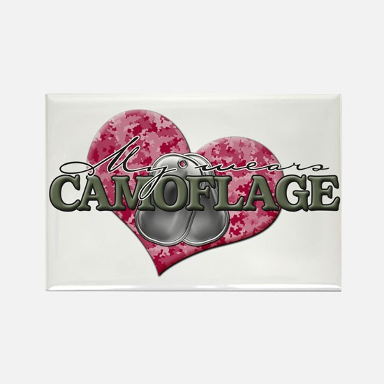 My Heart Wears Camoflage Rectangle Magnet
