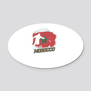 Football Worldcup Morocco Moroccan Oval Car Magnet