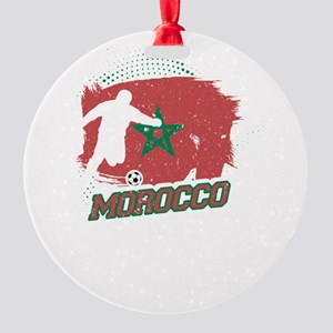 Football Worldcup Morocco Moroccans Round Ornament