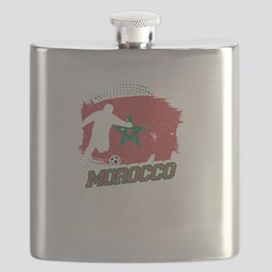 Football Worldcup Morocco Moroccans Soccer T Flask
