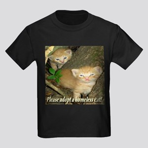 Please adopt a homeless cat! Kids Dark T-Shirt