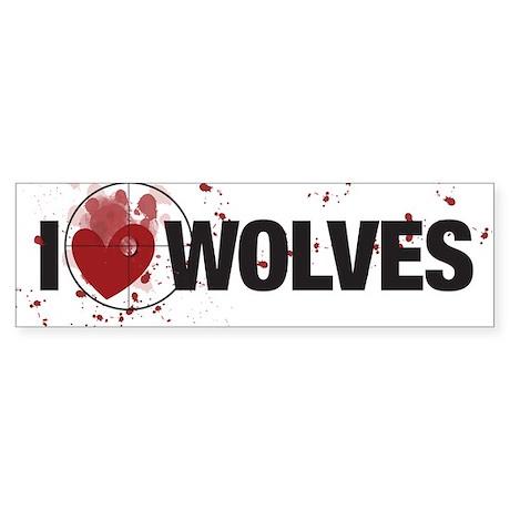 "I ""HEART"" WOLVES Bumper Sticker"