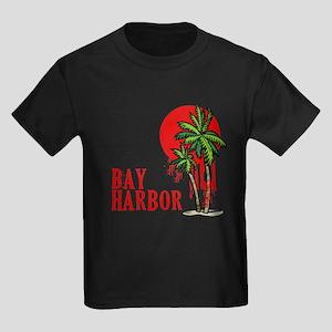 Bay Harbor with Palm Tree Kids Dark T-Shirt
