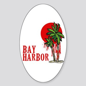 Bay Harbor with Palm Tree Oval Sticker
