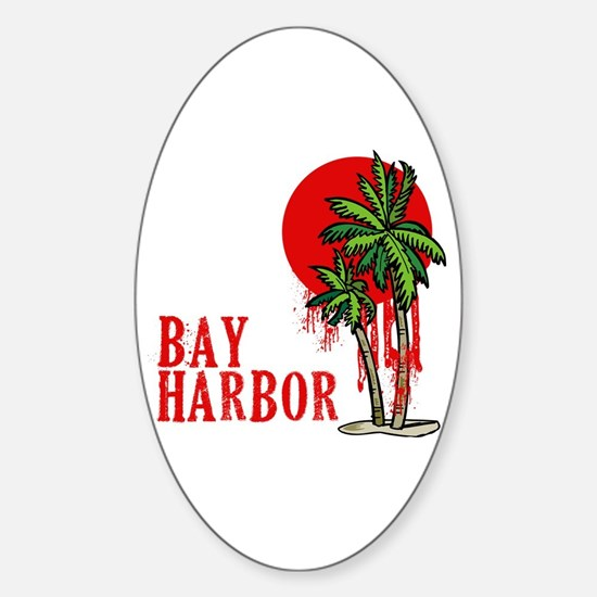 Bay Harbor with Palm Tree Oval Decal