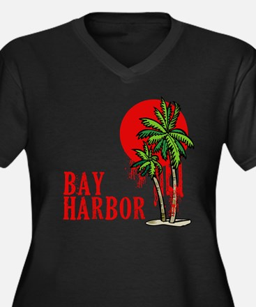 Bay Harbor with Palm Tree Women's Plus Size V-Neck