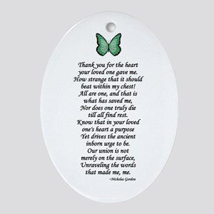 Donor Thank You Poem Oval Ornament