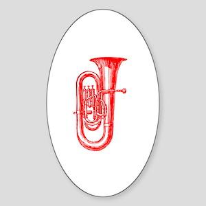 Red Tuba Oval Sticker