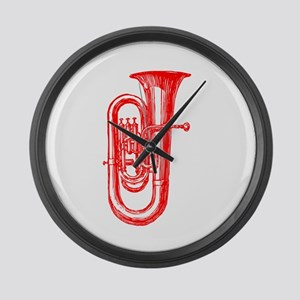 Red Tuba Large Wall Clock