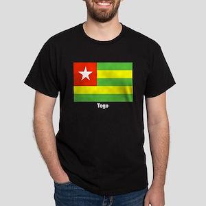 Togo Flag (Front) Black T-Shirt