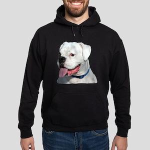 White Boxer Dog Hoodie (dark)